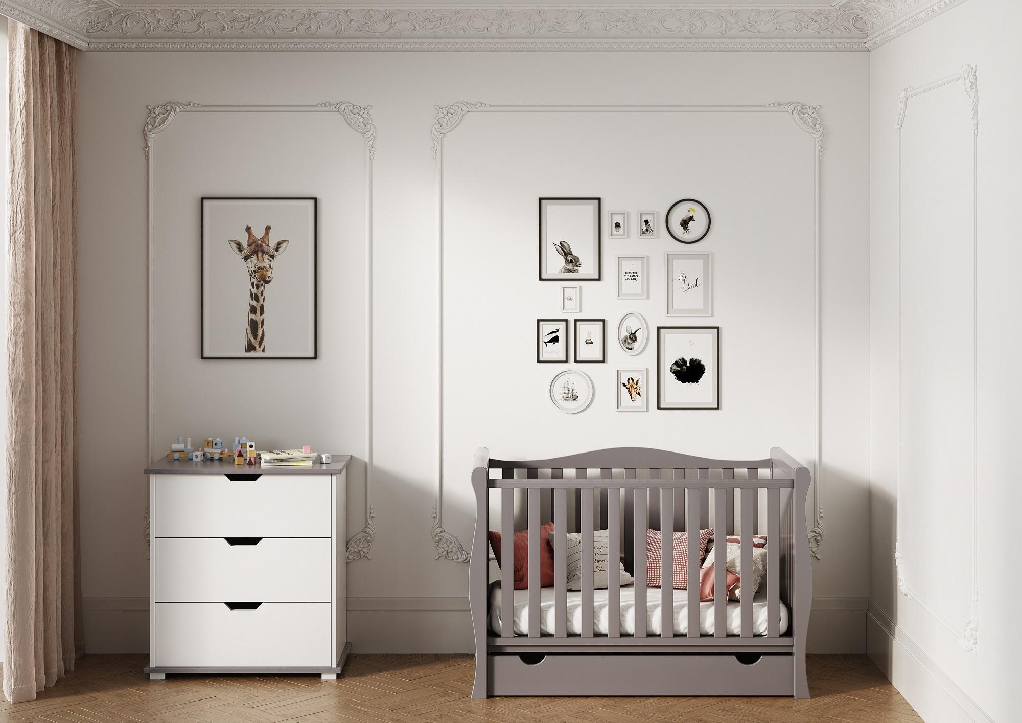 Sleigh Mini Grey Baby Cots Online