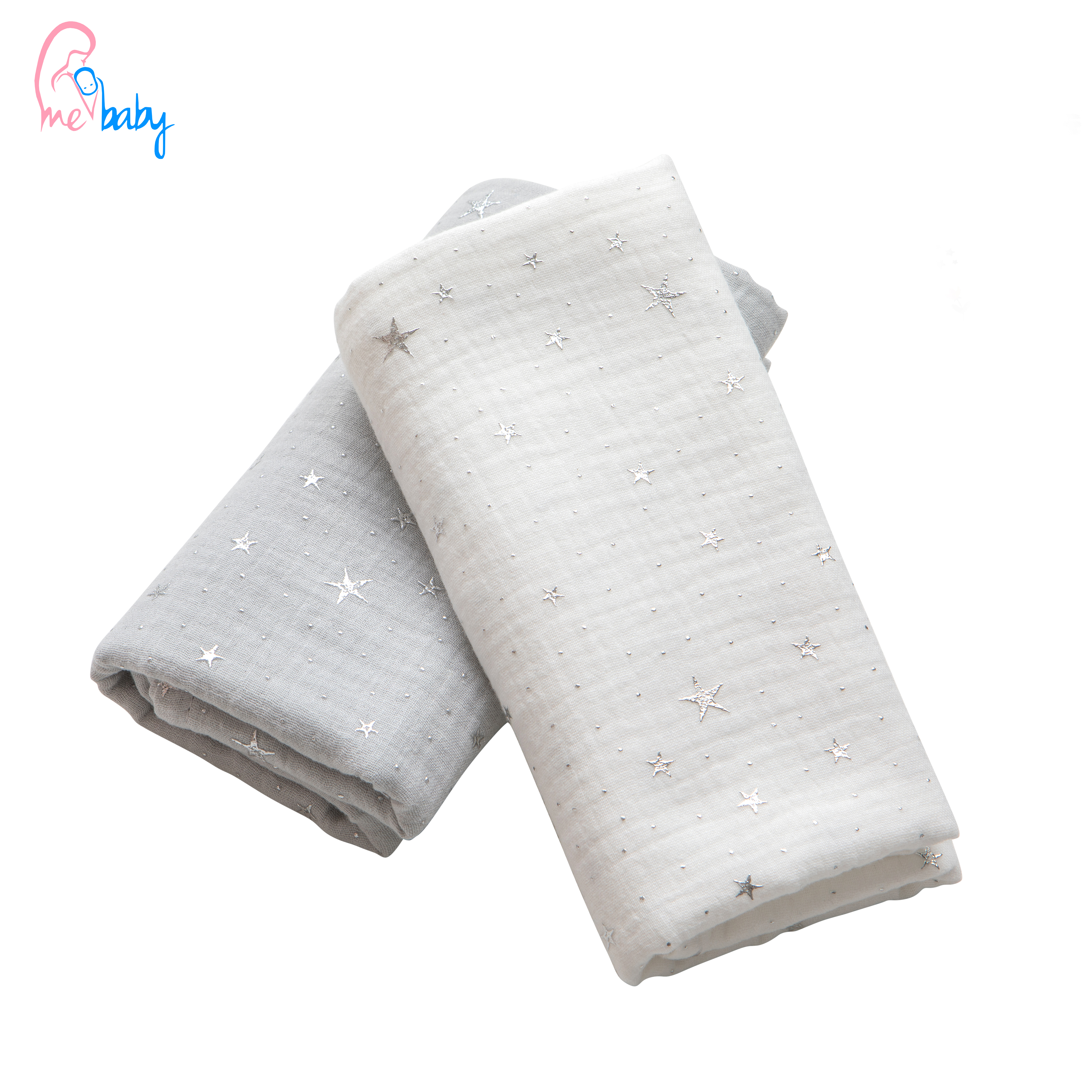 2 pack double gauze baby muslin white and grey