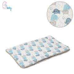 Blanket 75x100cm (blue elephants/grey)