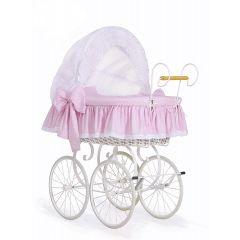 Pink & White Polka Dot Retro Wicker Crib