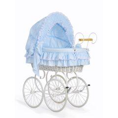 Blue & White Retro Wicker Crib