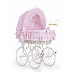 Pink & White Retro Wicker Crib