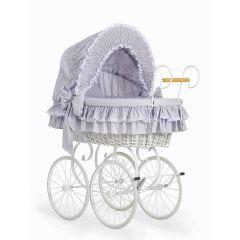 Grey & White Retro Wicker Crib