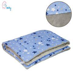 Blanket 75x100cm (blue galaxy stars/grey)