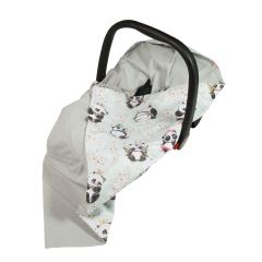 Bamboo & Cotton Baby Wrap For Car Seat (light grey/mint panda) - OUT OF STOCK