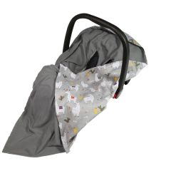Bamboo & Cotton Baby Wrap For Car Seat (dark grey/grey llama) - OUT OF STOCK