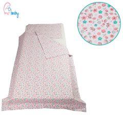 Duvet Set Cover 100x135cm (mint & pink flowers)