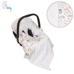 Light Cotton Baby Wrap For Car Seat (white bunny & owl)