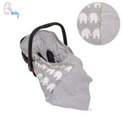 Light Cotton Baby Wrap For Car Seat (grey elephants)