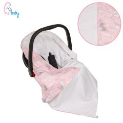 Light Cotton Baby Wrap For Car Seat (pink bunnies)