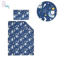 Duvet Set Cover 100x135cm (navy blue teddy on the moon)