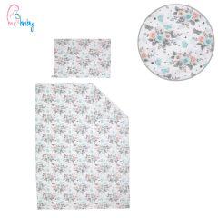 Duvet Set Cover 100x135cm (pink, mint & grey roses)