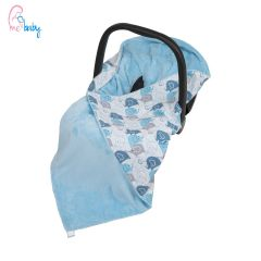Baby Wrap For Car Seat (blue/new blue elephants)