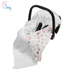 Baby Wrap For Car Seat (white/love hearts)