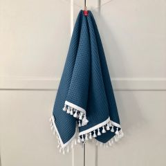 Lightweight Cotton Waffle Blanket (navy blue & white)