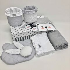 9pcs Dolly Collection Bedding Set (white & grey)