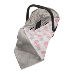 Baby Wrap For Car Seat (grey/new pink elephants)