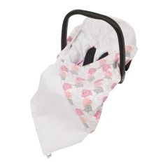 Baby Wrap For Car Seat (white/new pink elephants)