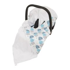 Baby Wrap For Car Seat (white/new blue elephants)